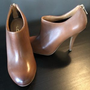 Brown Leather High Heeled Booties